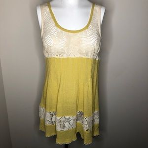 Free People Ivory Lace Yellow Gauzes Tank Top